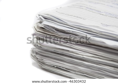 Pile of paper isolated on white backgorund
