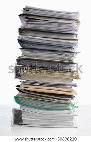 Pile of paper on white background. Workload concept. - stock photo