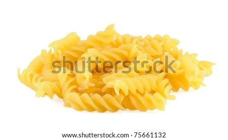 Pile of pasta fusilli isolated on white background - stock photo