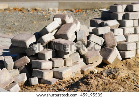 Pile of paving slabs background concept - stock photo