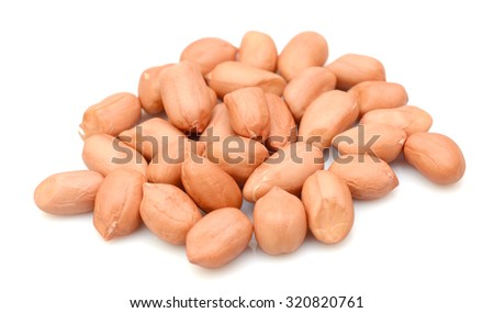 pile of peanuts isolated on white background - stock photo