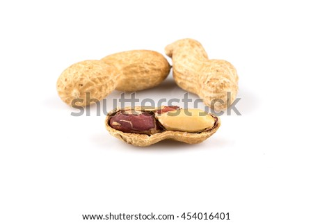 Pile of peanuts nuts close up for background - stock photo