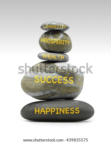 Pile of pebbles with management words - stock photo
