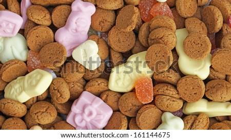 Pile of Pepernoten, typical Dutch treat for Sinterklaas in december       - stock photo