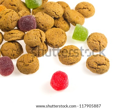 Pile of Pepernoten, typical Dutch treat for Sinterklaas in december, over White Background