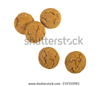 Pile of Pepernoten, typical Dutch treat for Sinterklaas in december, over White Background - stock photo