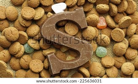 Pile of Pepernoten, typical Dutch treat for Sinterklaas on 5 december - stock photo