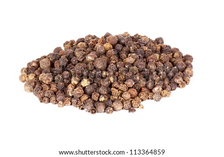 Pile of pepper seeds isolated on white background - stock photo