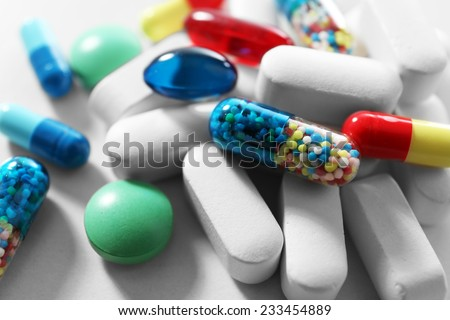 Pile of pills, close-up - stock photo