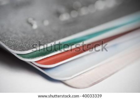 Pile of plastic card. Macro shoot , shallow depth of focus - stock photo