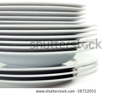 pile of plate - stock photo