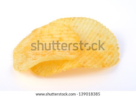 Pile of potato chips in isolated white background.