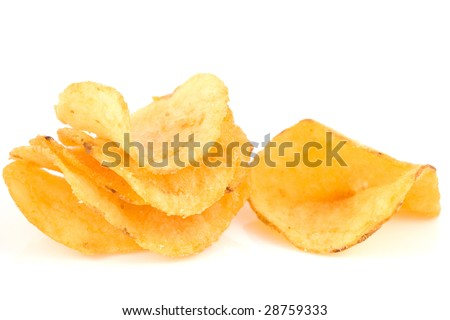Pile of potato chips on isolated