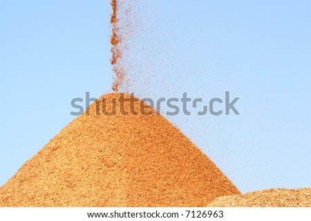 Pile of pouring wood chips - stock photo