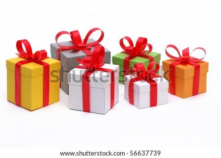 pile of presents - stock photo