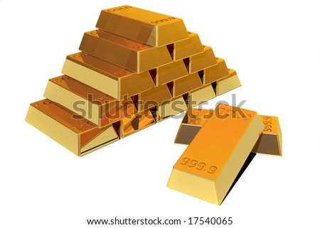 Pile of pure Gold bars in withe background.