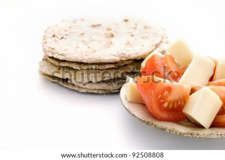 pile of ray flatbread isolated on white background