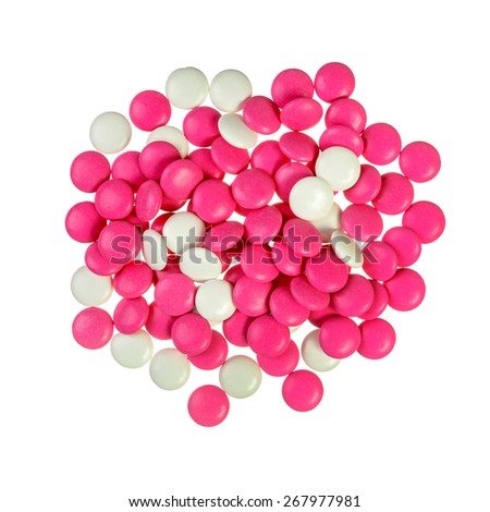 Pile of red and white pills isolated on white - stock photo