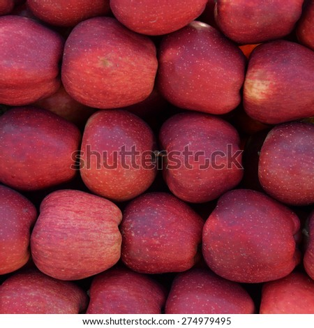Pile of red apples fresh fruit background texture. - stock photo