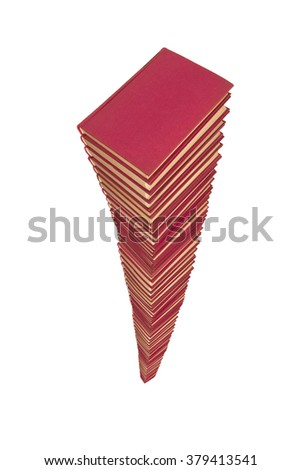 pile of red books on white background - stock photo