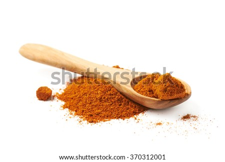 Pile of red cayen pepper isolated - stock photo