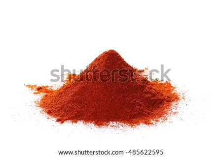 Pile of red paprika powder isolated on white, with clipping path