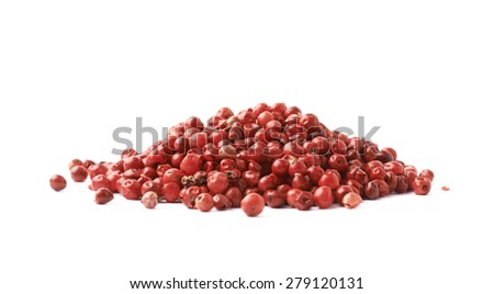 Pile of red pepper seeds isolated over the white background - stock photo