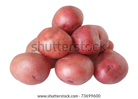 Pile of red potatoes isolated on white background - stock photo