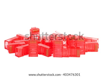 Pile of red RJ45 connectors isolated on white background - stock photo