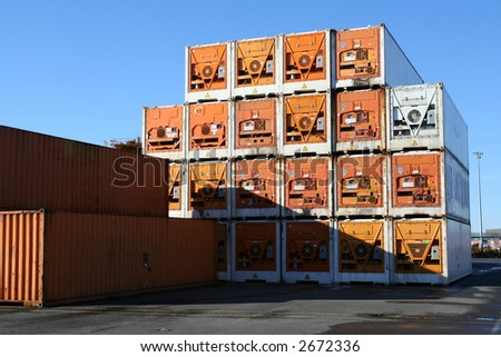 Pile of refrigerated containers - stock photo