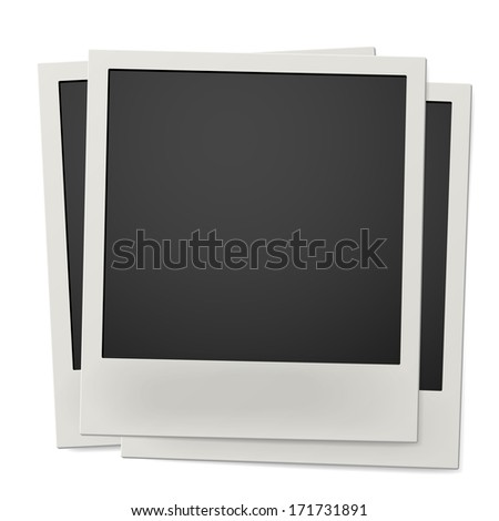Pile of retro instant photo frames isolated on white background. Raster version illustration. - stock photo
