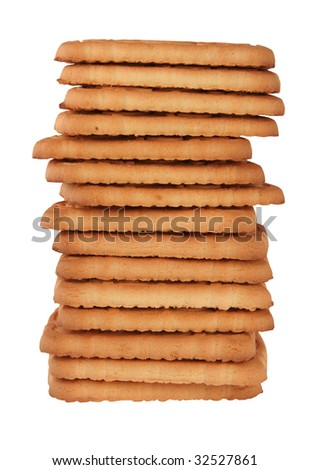 Pile of rich cookies on a white background