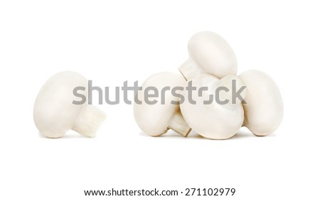 Pile of ripe champignons isolated on white background - stock photo