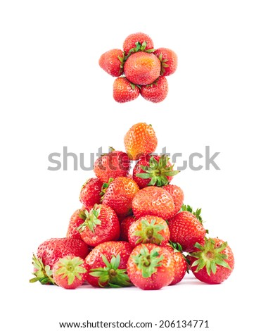 Pile of ripe strawberries composed as Christmas tree isolated over white background - stock photo