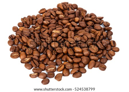 Pile of roasted coffee beans isolated in white background, selective focus on the center
