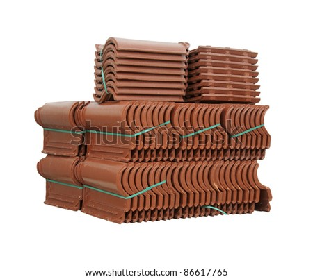 Pile of roofing tiles packaged. Isolated on white - stock photo