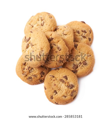 Pile of round cookies with the pieces of chocolate isolated over the white background - stock photo