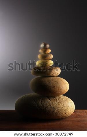 Pile of round stones - stock photo