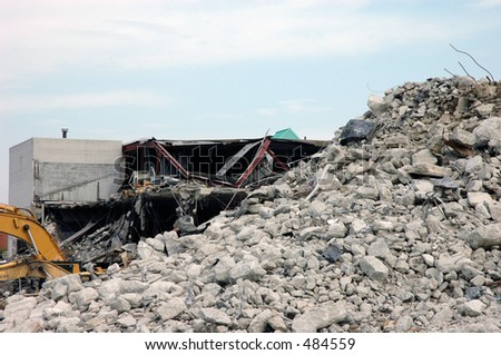 Pile of rubble from demolished building - stock photo