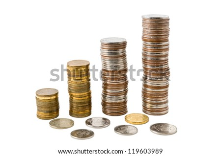 Pile of Russia coins is photographed on the white background