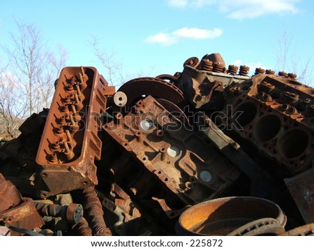 pile of rusted engines - stock photo