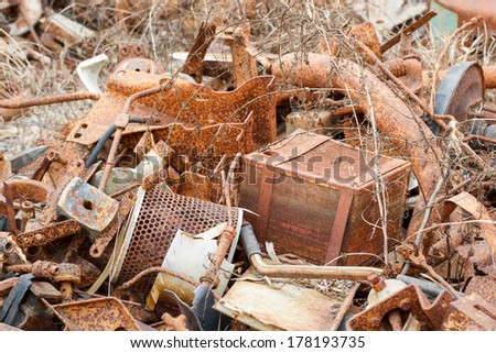 Pile of rusty metal scrap - stock photo
