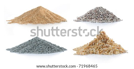 pile of sand, green carbon, pine wood and rock isolated over white background - stock photo