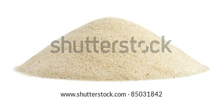 Pile of sand on white background. Small grain size.