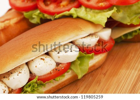 pile of sandwiches close