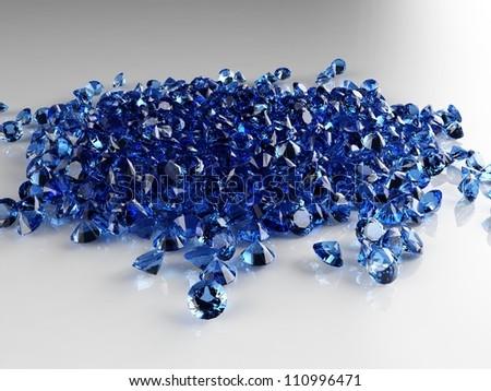 Pile of saphire diamonds - stock photo