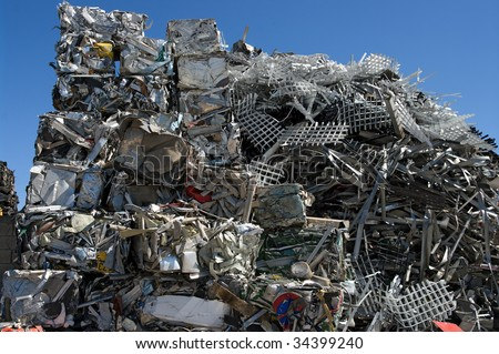 Pile of scrap metal in a scrapyard