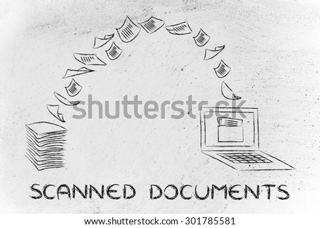 pile of sheets being turned into data, concept of scanning documents - stock photo