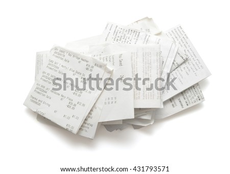 Pile of shopping receipts on white background - stock photo