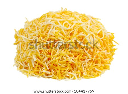 Pile of shredded monterey jack and cheddar cheese - stock photo